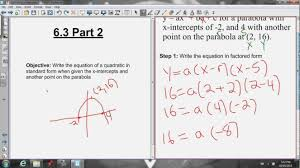 parabola standard form calculator writing the equation in when given