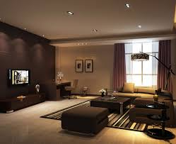 modern living room with recessed lights