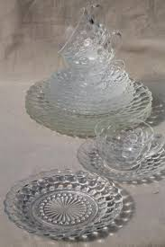 vintage anchor hocking bubble pattern clear depression glass dinnerware set for 4