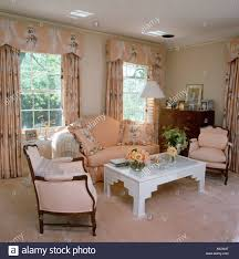 Peach Living Room Peach Sofa And Patterned Curtains With Pelmets In Peach Eighties