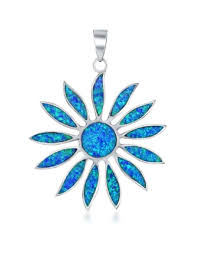 sterling silver daisy with synthetic blue opal pendant 38mm