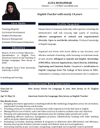 Teacher Resume Template Stunning English Teacher CV Format English Teacher Resume Sample And Template