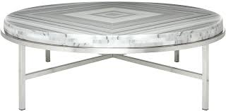 safavieh malone white coffee table contemporary round marble stainless front