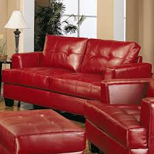 Red Living Room Furniture Samuel Red Leather 3 Pcs Living Room Set Sofa Loveseat And Chair