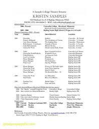 Movie Theatre Resume Theater Director Resume Template Theatre Cv Example Free Templates