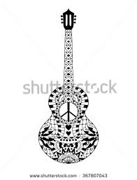 Small Picture Hand Drawn Hippie Acoustic Guitar Anti Stock Vector 367807085