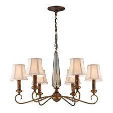 elk lighting chandelier six light in bronze elizabethan