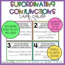 Subordinating Conjunctions Task Cards