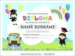 Kindergarten Diploma Template Preschool Diploma Certificate
