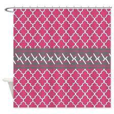 quatrefoil shower curtain bright pink grey shower curtain