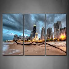 3 piece wall art painting chicago trunk on beach near modern buildings picture print on canvas city 4 the picture in painting calligraphy from home