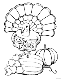 Coloring Pages Thanksgiving Turkey Page Printable Free For Kids Clip