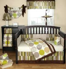 colorful baby boy nursery interior design jazz bedding set in sophisticated brown and green crib pink