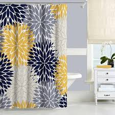 navy blue and yellow shower curtain fl shower curtain pertaining to grey and yellow shower curtain