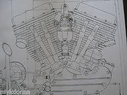 harley panhead technical drawing set engine blueprint flh davidson 2 harley davidson panhead engine blueprint transmision flh v2 v twin print vtg