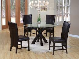 gorgeous chandelier also black leather chairs and rectangular rug feat unusual round glass top kitchen