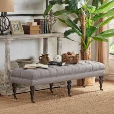 Solaine-Button-Tufted-Linen-Nail-Head-Castered-Bench-