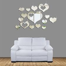 3d mirror love hearts wall sticker decal diy home room art mural decor removable on art deco style wall decals with buy art deco style small wall decals stickers ebay