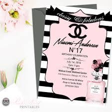 Chanel Pink Birthday Party Invitation