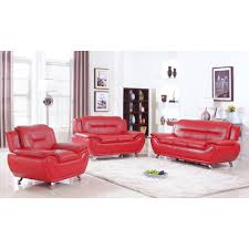 Ufe Norton Red Faux Leather Piece Modern Living Room Sofa Set