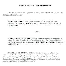 Sample Memorandum Business Mou Template Partnership Agreements ...