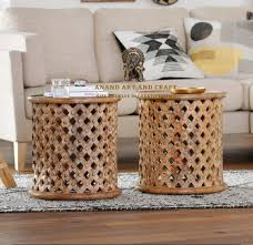 Discover the design world's best coffee table sets at perigold. Wooden Coffee Table Round Lattice Carved Wood Accent Table Etsy In 2021 Wood Accent Table Coffee Table Wood Wooden Coffee Table
