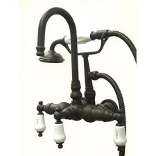 kingston brass 3 handle wall mount claw foot tub faucet with hand shower in
