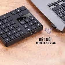 Bàn phím số không dây Wireless 2.4G, cho Laptop, thiết bị di động, 35 phím,  thêm các phím chức năng, Pin sạc, phím êm Minh House-Hàng chính hãng