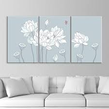wall26 3 panel canvas wall art drawing of white lotus flowers giclee print gallery wrap modern home decor ready to hang 16 x24 x 3 panels on 3 panel wall art flowers with wall26 3 panel canvas wall art drawing of white lotus flowers