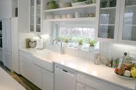 Kitchen:Interesting Kitchen Design With Long White Kitchen Cabinet And  White Subway Tile Backsplash Ideas