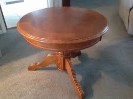 small round solid wooden pedestal coffee table 26 inches round 20h beautiful inlaid