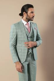 Light Grey And Burgundy Suit Checked Light Green 3 Piece Suit Clos