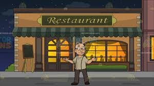 fancy restaurant building clipart.  Fancy A Bald Man With Glasses At Outside Fancy Restaurant Building Clipart N