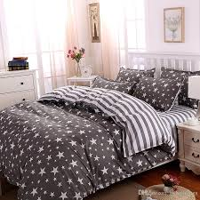 whole the stars stripes polyester bedding set grey duvet cover bed set twin full queen king size bed sheets bedlinen bedclothes embroidered duvet cover