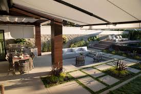 fabric patio shades. Contemporary Patio Patio Underneath A Retractable Awning Made With Silver Sunbrella Fabric  In Fabric Shades