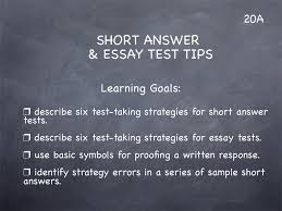 tween publishing lesson short answer essay test tips lesson 20 study skills classroom slides page1