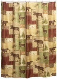 mountain moose and bear shower curtain cabin decor