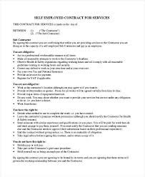 Self Employed Contractor Agreement Template Employment Employee ...