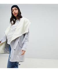 Asos Design Waterfall Parka With Borg Liner Asos Design Maternity Waterfall Parka With Borg Liner