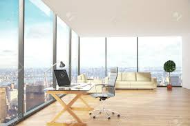 contemporary office interior. Contemporary Office Interior With Workplace, Lounge Area And City View. Side View, 3D C