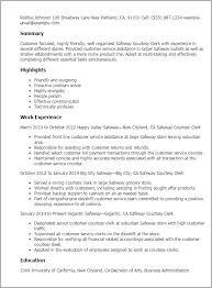 Resume Templates: Safeway Courtesy Clerk