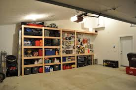 simple diy wood garage storage shelves without door for garage with sloping ceiling and white wall interior color decorating ideas