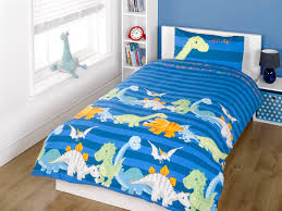 blue striped duvet cover with young baby dinosaurs in rows along the bottom half words