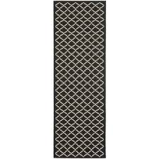 safavieh courtyard black beige 2 ft x 14 ft indoor outdoor runner