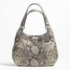 Coach Embossed Exotic Hobo Bag Black Grey F19678