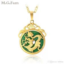 whole 167p m g fam chinese ancient mascot dragon pendant necklace 24k gold plated green malaysian jade with 45cm chain bar pendant necklace tanzanite
