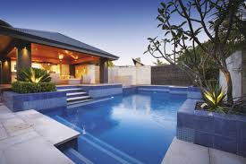 Swimming Pool:Futuristic Backyard Pool Landscaping With Blue Deep Water And  Wooden Ceiling Light Idea