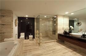 large modern bathroom. Master Modern Bathroom Design With Built In Bathtub And Large Mirror Above Single Sink Wall