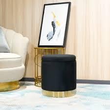<b>FCH</b> Storage <b>Ottoman Set Round</b> Velvet Footrest Modern Vanity ...