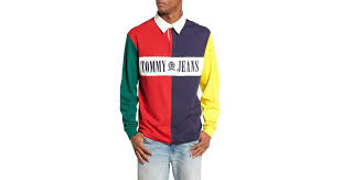 tommy jeans 90s colour block rugby shirt salsa multi 1 color
